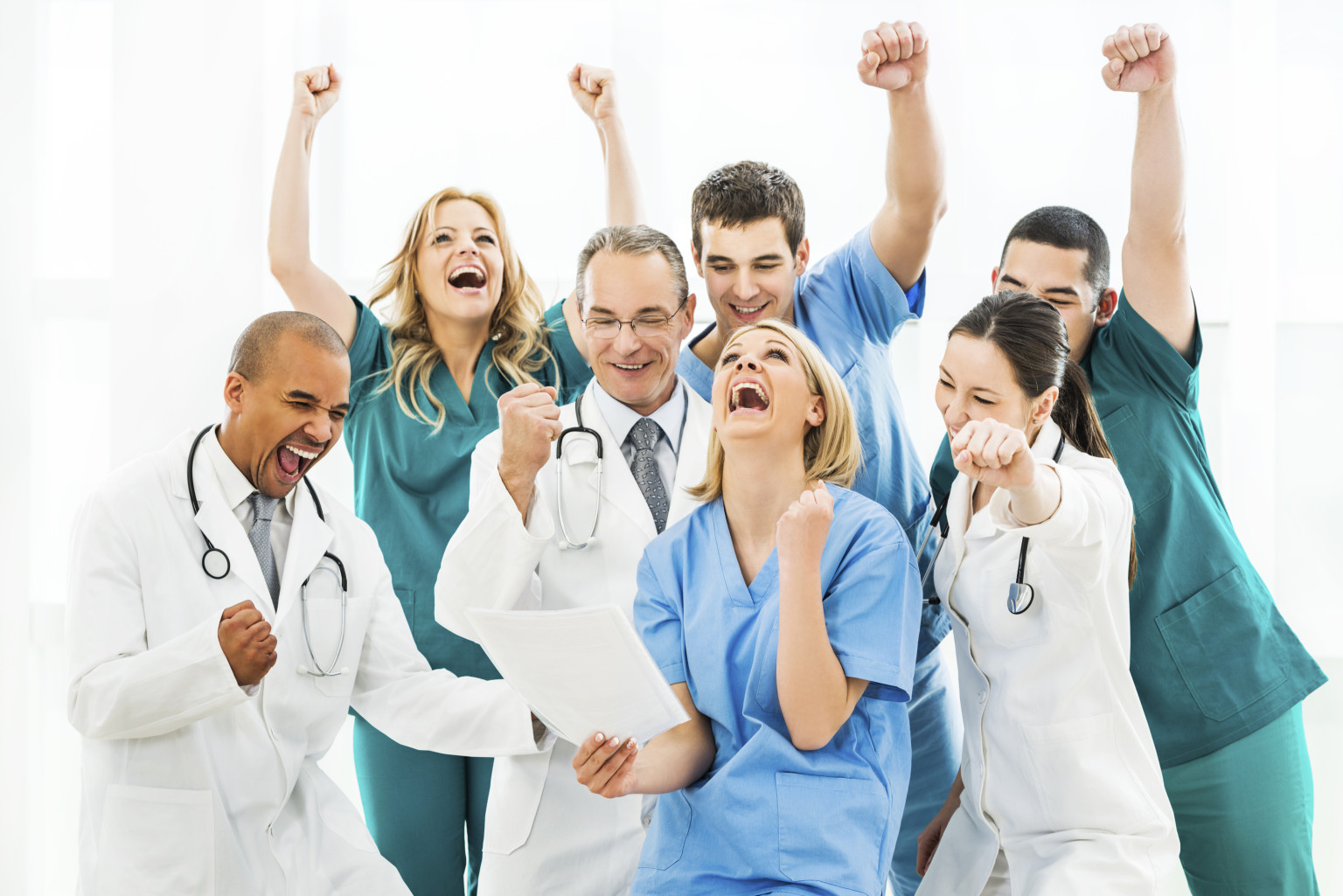 Ecstatic group of doctors.