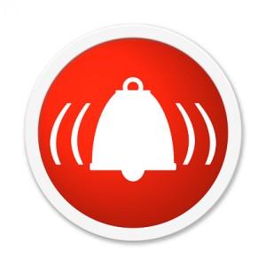 Rund Button showing alarm bell